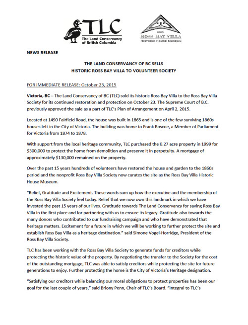Ownership press release October 23, 2015 page 1